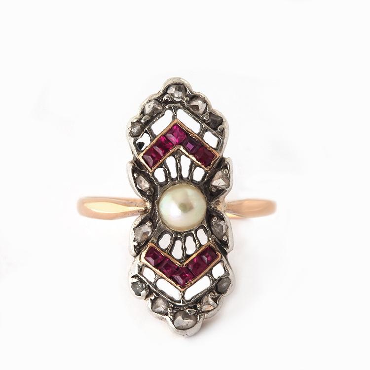 טבעת אר דקו מזהב עם רובינים יהלומים ופנינה
