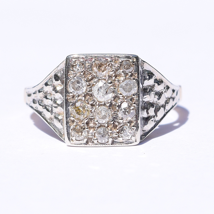 טבעת מלבן ריקועים יהלומים