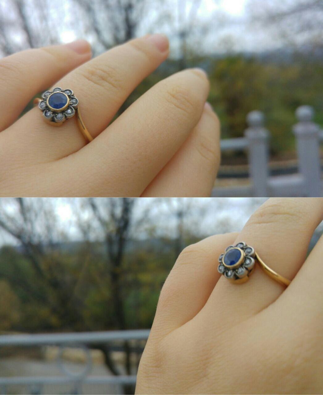 טבעת קרוס אובר עתיקה, עם פרח של ספיר ויהלומים.