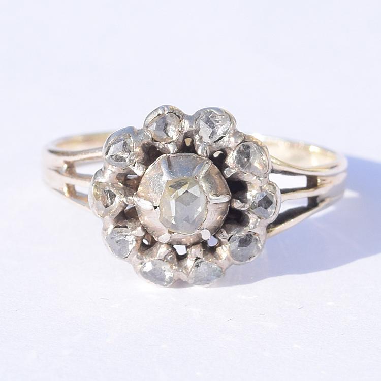 טבעת ג'ורג'יאנית, זהב וכסף המשובצת ביהלומים בליטוש rc.