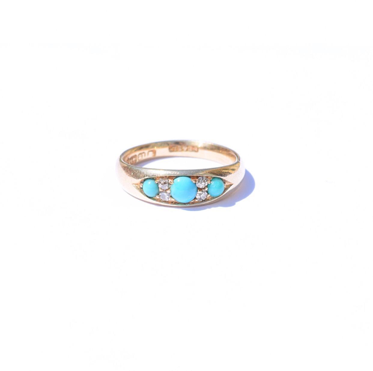 טבעת ג'יפסי 3 טורקיזים ויהלומים
