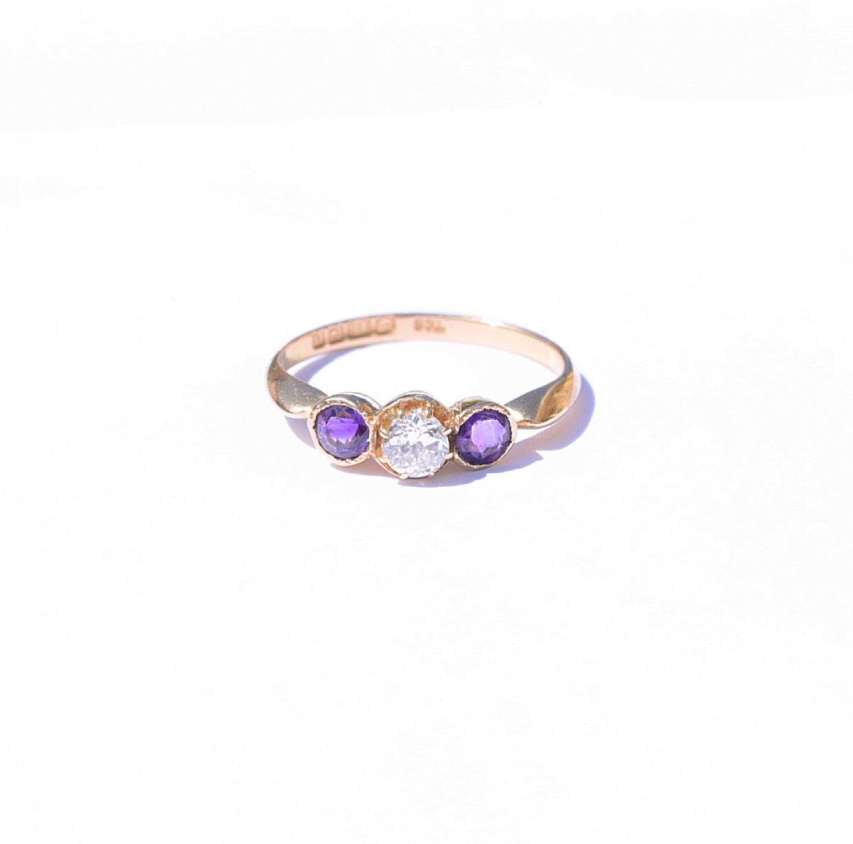 טבעת 2 אמטיסט ויהלום
