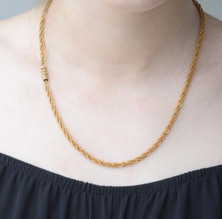 שרשרת צמות, זהב 15k עם סוגר ברל מעוטר.