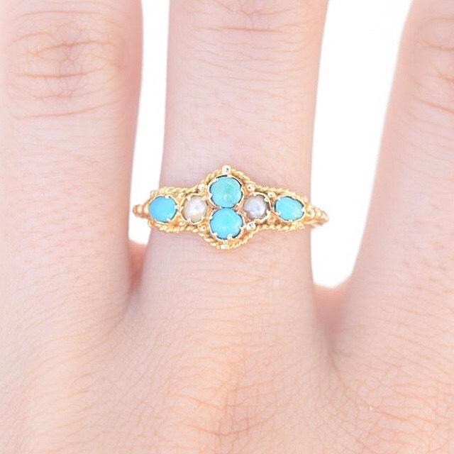 טבעת טורקיזים פנינים