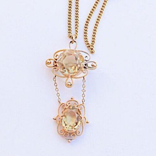 תליון עתיק יפהיפה, זהב עם אבני ציטרין.