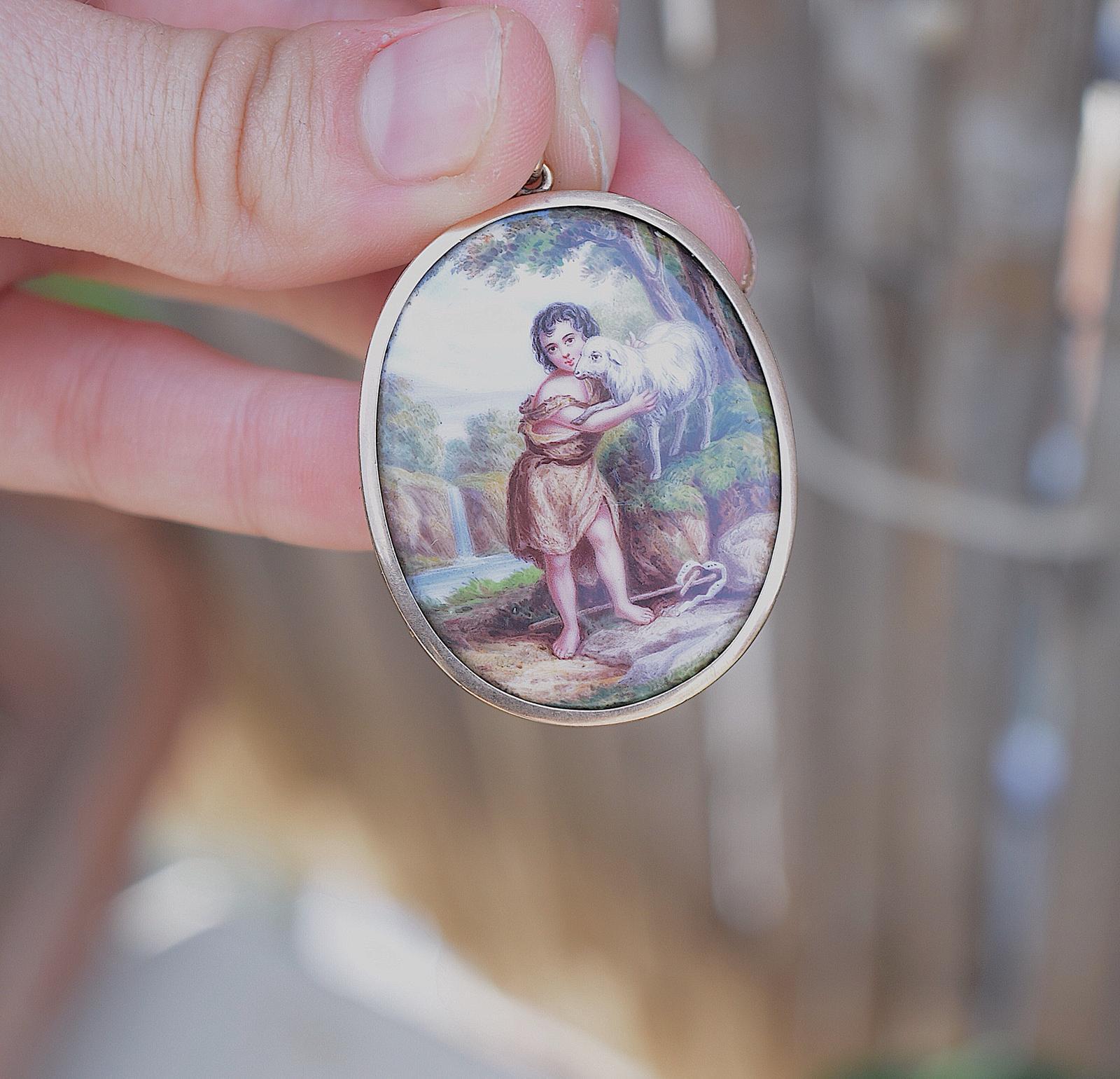 ציור יד ויקטוריאני זהב 15k