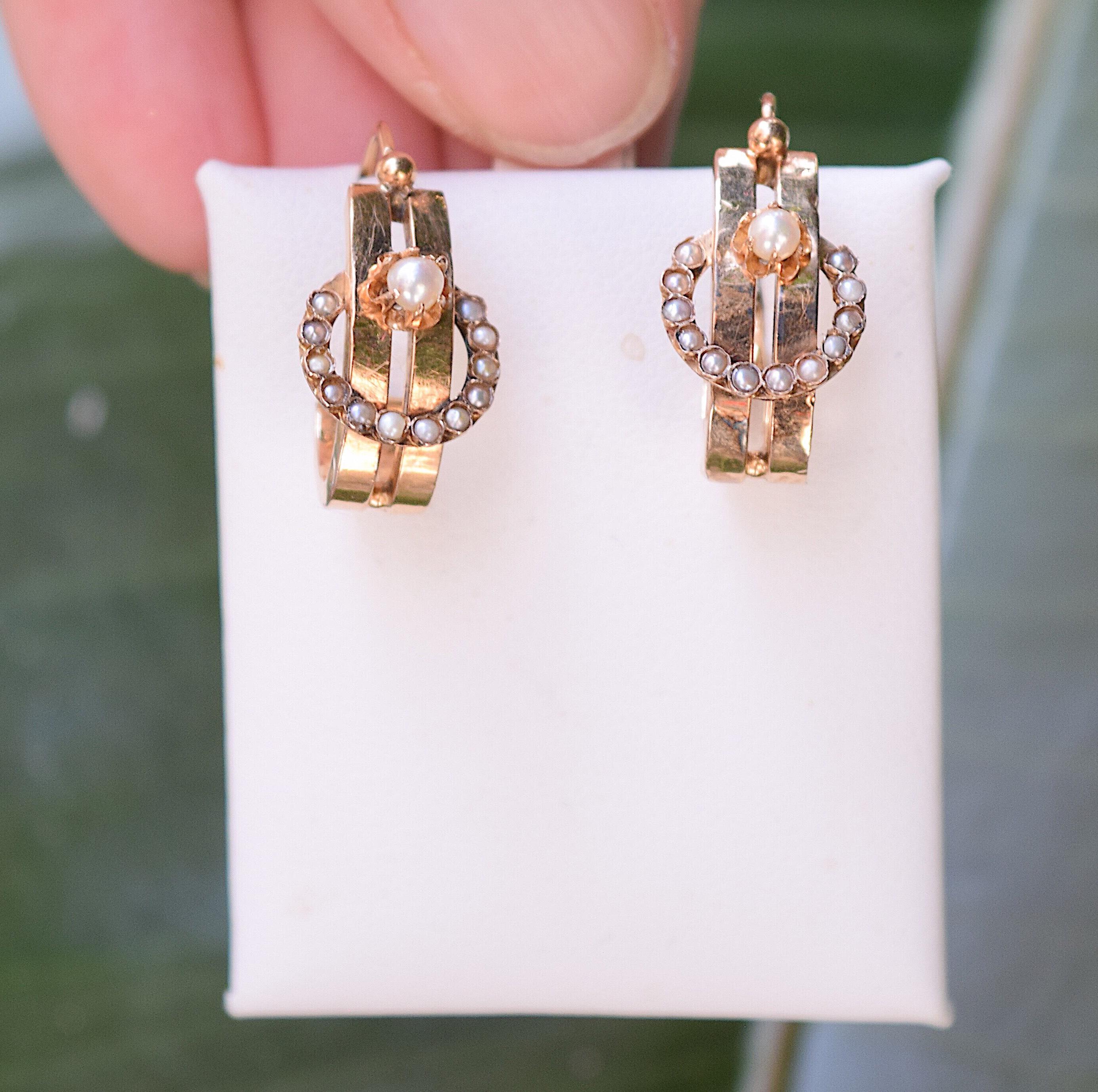 עגילים עתיקים זהב 18K עם פנינים.