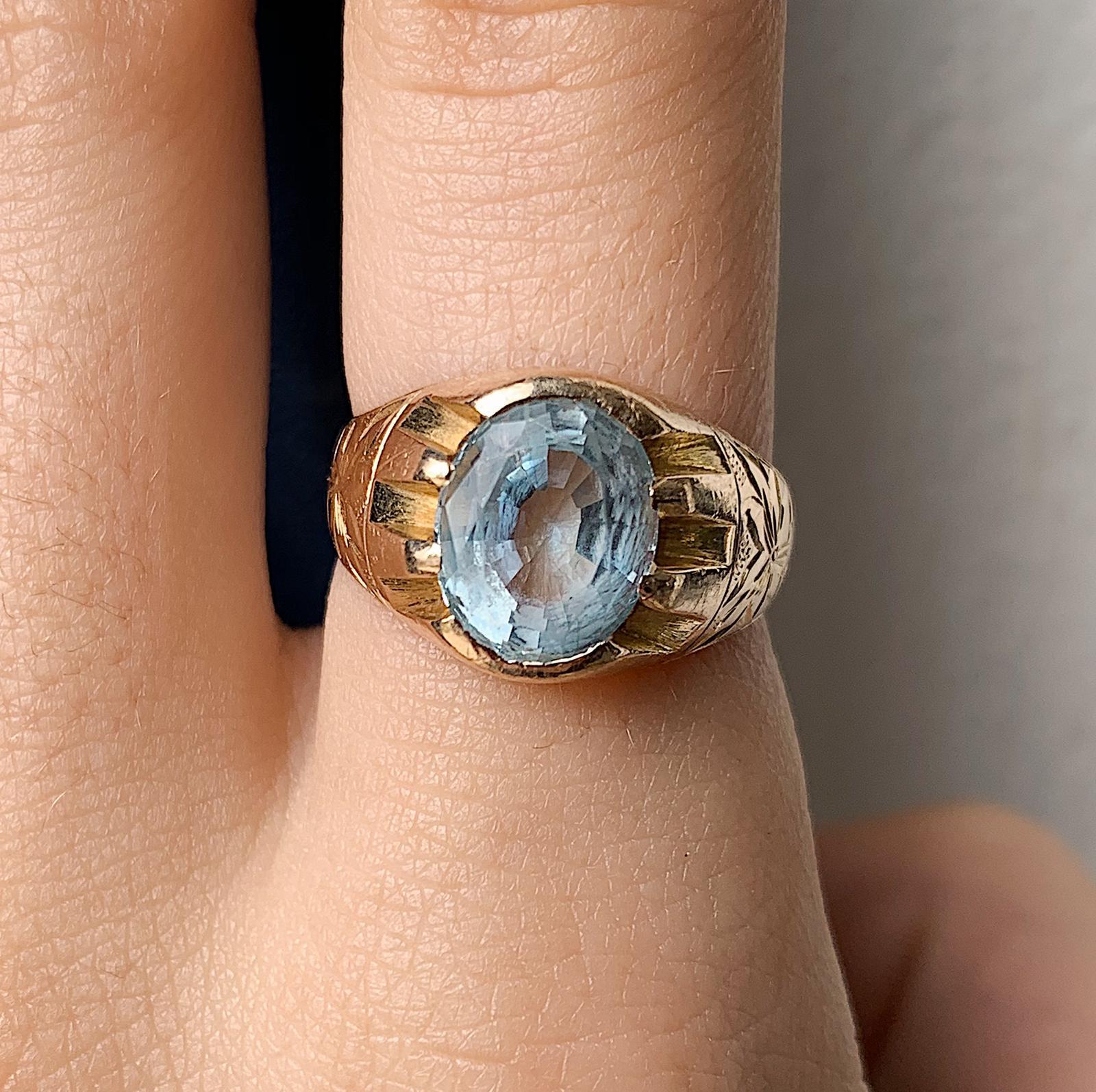 טבעת זהב 15k, עם אבן אקווה מארין .