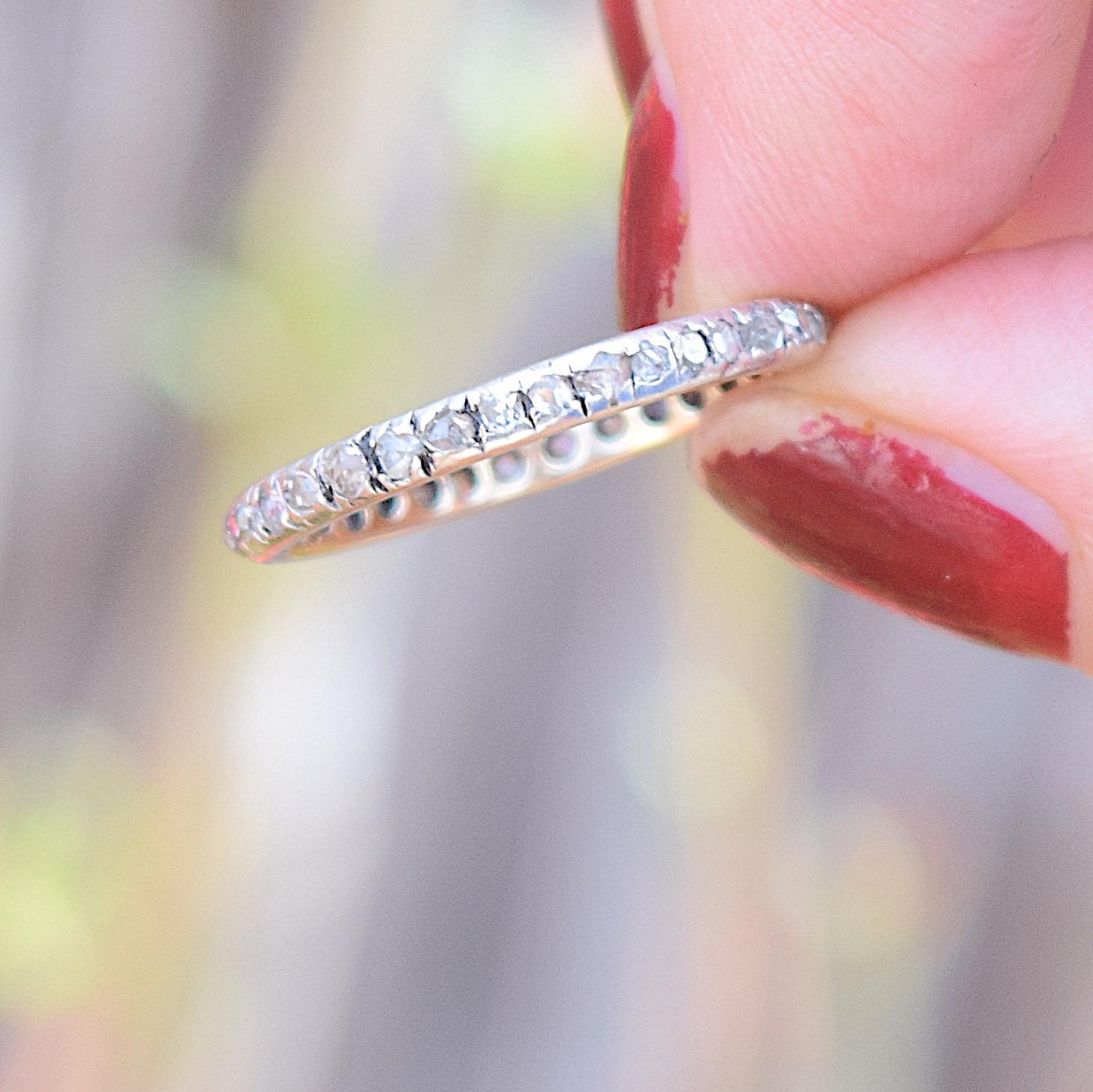 טבעת איטרניטי עתיקה זהב וכסף עם יהלומים. נהדרת.