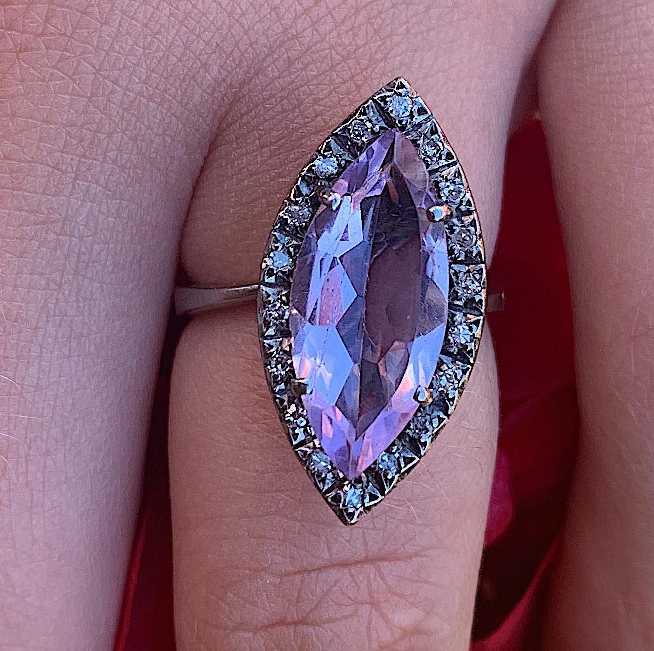 טבעת רטרו , זהב 14k עם אמטיסט ויהלומים קטנים.