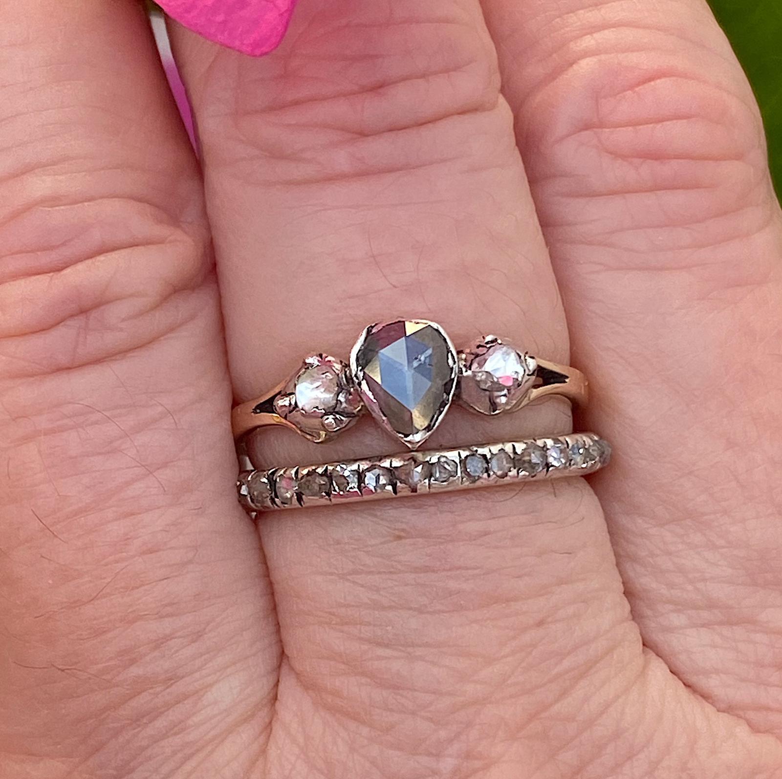 טבעת ג'ורג'יאנית, זהב וכסף , עם 3 יהלומים.(העליונה).