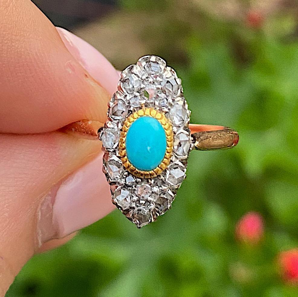 טבעת ויקטוריאנית מזהב 18k עם טורקיז ויהלומים.
